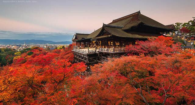 Du khách trong tour du lịch Nhật Bản 6 ngày 5 đêm sẽ có cơ hội thăm quan ngôi chùa Thanh Thủy linh thiêng