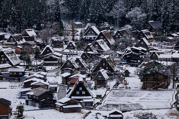 Mùa đông đến làng cổ Shirakawago phủ trong tuyết trắng
