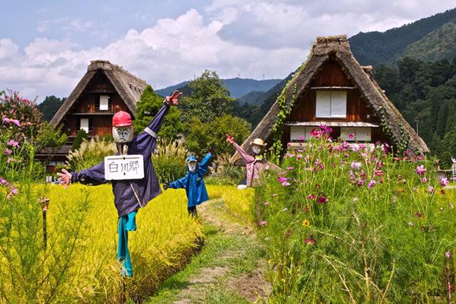 Làng cổ Shirakawago tọa lạc ở chân núi Hakusan, tỉnh Gifu, du khách đi tour Nhật Bản có thể sử dụng tàu cao tốc để di chuyển đến đây