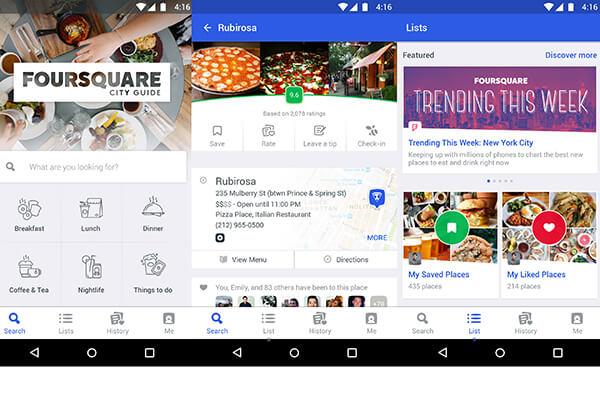 Nên cài app Foursquare để chia sẻ những điều thú vị trong tour du lịch Hàn Quốc với bạn bè xung quanh