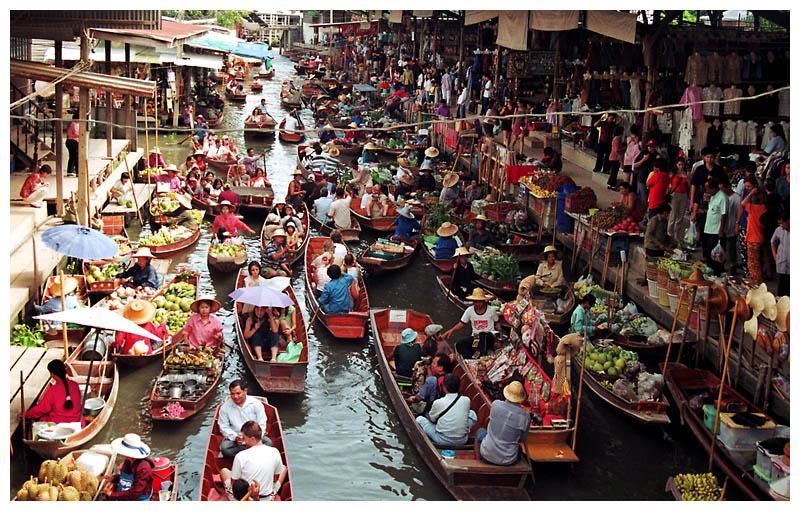 Chợ nổi – đặc trưng của loại hình mua bán chợ nổi Thái Lan