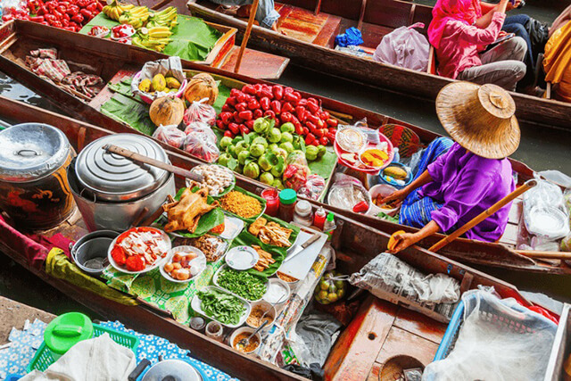 Chợ nổi 4 mùa ở Thái Lan là không gian đầy màu sắc văn hóa, giải trí đang chờ bạn khám phá khi du lịch Thái Lan
