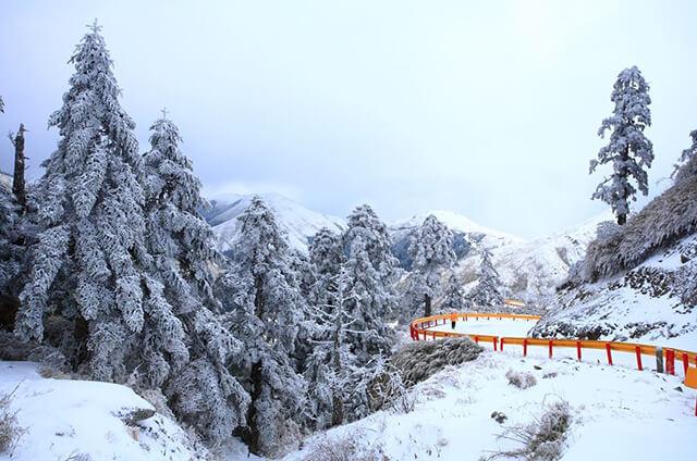 Nhiều vùng núi cao tại Đài Loan có tuyết phủ trắng xóa khi mùa đông đến