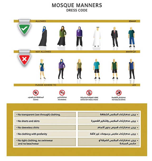 Tại Dubai có hẳn một bộ quy tắc trang phục cho nam và nữ