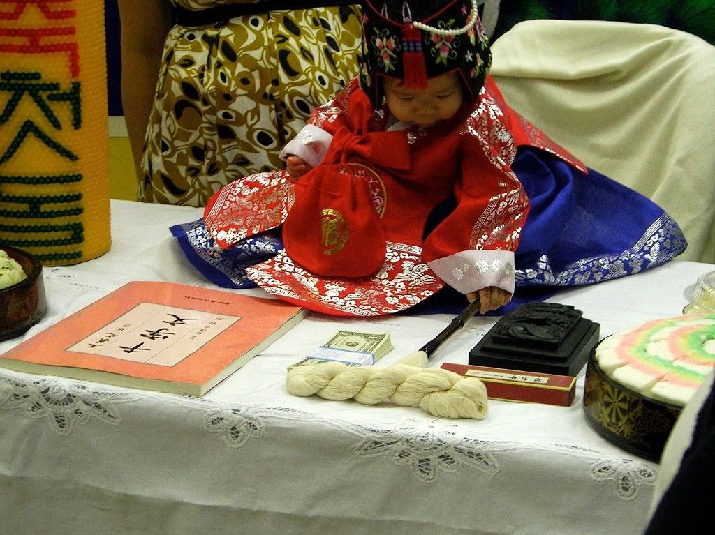 Nghi lễ dự đoán tương lai trong tiệc đầy 1 tuổi của trẻ em Hàn Quốc