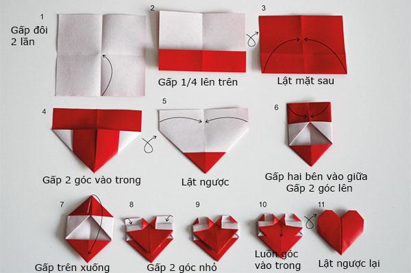 Cách xếp trái tim bằng giấy hình vuông