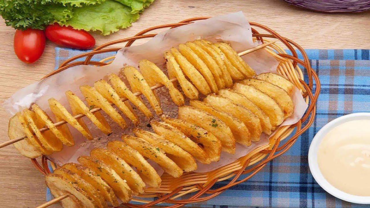 khoai tây chiên lốc xoáy ròn rụm