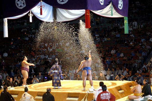 Mùa thu cũng là mùa diễn ra những giải Sumo lớn trong năm