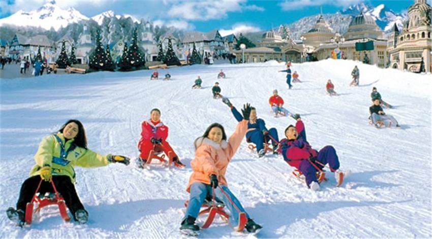 khu trượt tuyết Yangji Pine vào mùa đông