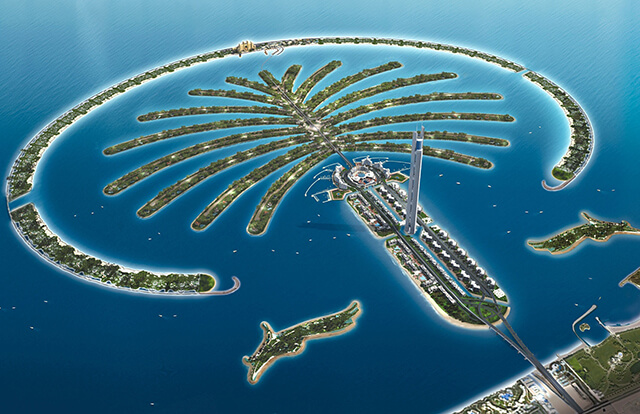 Đảo Cọ nhân tạo Palm Jumeirah được xây dựng từ quá trình lấp biển ngoặn mục