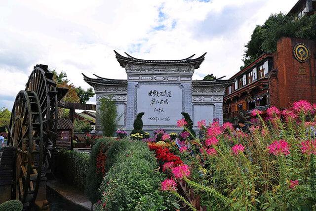 Xung quanh khu vực bánh xe nước lớn được trang trí bằng nhiều loại hoa và cây cảnh